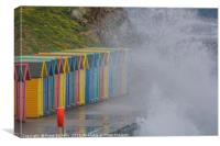 Beach Huts and Wild Waves, Canvas Print