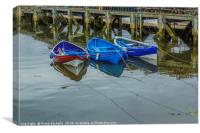 Three Tethered Boats, Whitby., Canvas Print