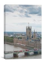 London Calling Cloudy Cityscape, Canvas Print