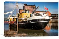 The Ross Tiger, a 1957 side-winder fishing trawler, Canvas Print