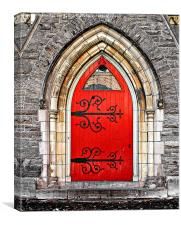Red Door with Hinges , Canvas Print