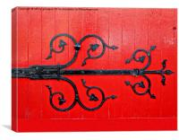 Hinge on a Red Door , Canvas Print