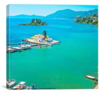 Monastery and Mouse island on Corfu, Canvas Print