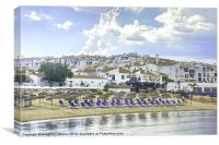 Summer holiday with sandy beach in Marbella, Canvas Print