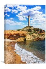 Cabo de Palos Lighthouse on La Manga, Murcia, Spai, Canvas Print