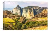 Panoramic view on Meteora in Trikala, Greece., Canvas Print