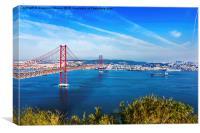 Bridge of 25th April over river Tajo, Lisbon, Port, Canvas Print