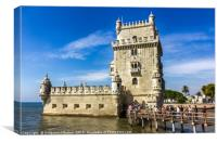 Lisbon, Portugal at Belem Tower on the Tagus River, Canvas Print