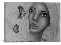 The Butterfly Girl - Signed Drawing, Canvas Print