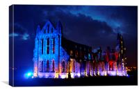 The Illuminated Whitby Abbey, Canvas Print