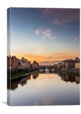 Florence - Ponte Vecchio  River Arno, Canvas Print