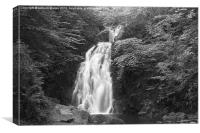 gleno waterfall in black and white, Canvas Print