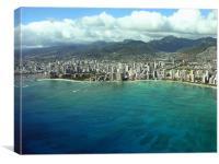 Waikiki Beach and Honolulu, Canvas Print