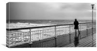Watching the storm, Boscombe Pier, Canvas Print