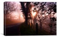 Foggy road to Lulworth Cove, Canvas Print