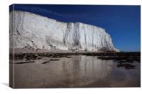 Chalk cliffs rising above the beach, Canvas Print