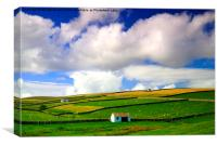 Barns in Landscape North Pennines, Canvas Print
