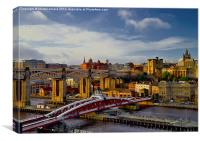 Newcastle Cityscape and Tyne Bridges, Canvas Print