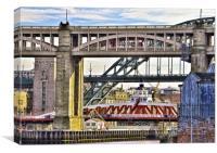 Newcastle upon Tyne Bridgescape, Canvas Print