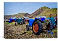 Fishing Boats and Tractors at Saltburn-by-the-Sea, Canvas Print