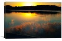 Sunset Over Lake with Reflections, Canvas Print