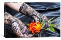 Lace gloves and rose, Canvas Print