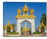 Pha That Luang - Main gate, Canvas Print