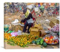 Bicycles and Fruit, Canvas Print