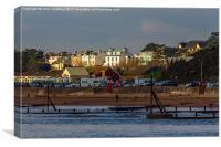 An English Beach Scene at Twilight, Canvas Print