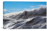 Surfing at Langland Bay. , Canvas Print