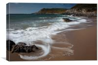 Swirling waves at Fall Bay Gower, Canvas Print
