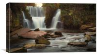 Autumn colours at Penllergare waterfalls, Canvas Print