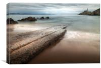 Mumbles Beach and Lighthouse, Canvas Print