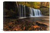 Sgwd Ddwli Uchaf waterfall country, Canvas Print