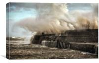 Hurricane Ophelia hits Porthcawl pier, Canvas Print