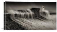 Hurricane Ophelia at Porthcawl, Canvas Print