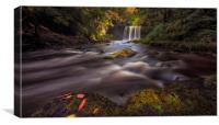 Moody Sgwd yr Eira Waterfall , Canvas Print
