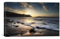 Sunset at Rhossili Bay, Canvas Print