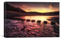 Sunrise at Three Cliffs Bay, Canvas Print