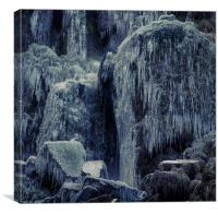 Frozen rocks and icicles, Canvas Print