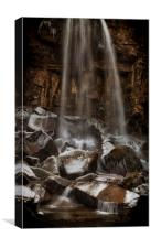 Winter at Melincourt waterfall, Canvas Print