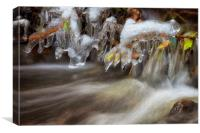 Icicles in a stream, Canvas Print