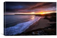 Gower sunset at Three Cliffs Bay, Canvas Print