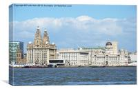 Liverpools Three Graces from the river., Canvas Print