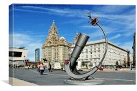 Liverpools Pier Head, Waterfront., Canvas Print