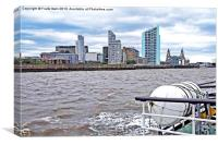 Liverpools northern Waterfront viewed from a Ferry, Canvas Print
