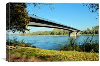 A picturesque bridge on the Rhine, close to Speyer, Canvas Print