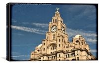 Top of Liverpools Liver Buildings, Grunged effect, Canvas Print