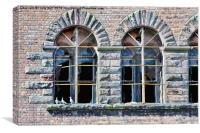 Old windows on a pigeon's dockland property., Canvas Print