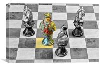 A King from a medieval chess set on a conventional, Canvas Print